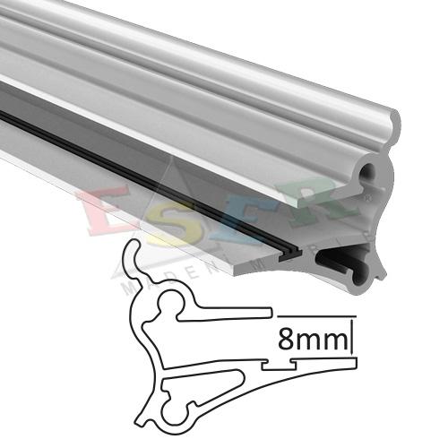 4480 - Fixing Aluminium Profile for 8 mm Glass